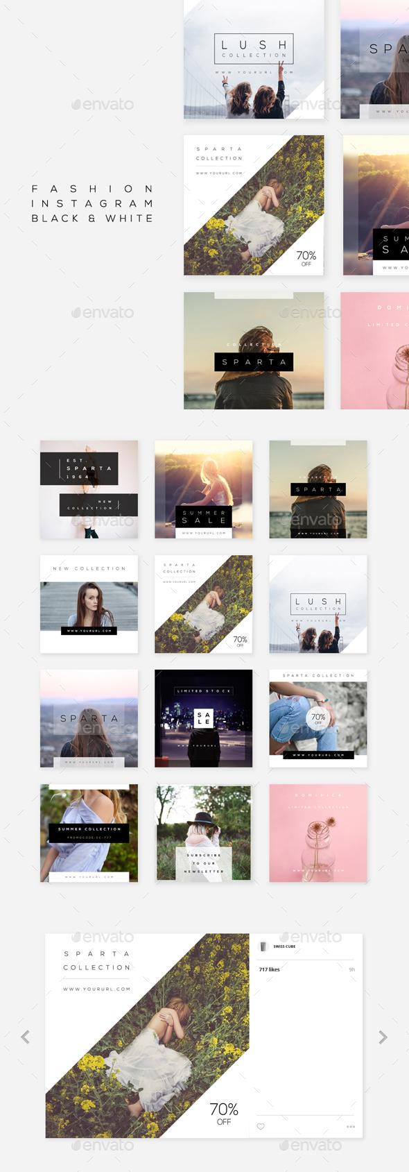 Fashion Instagram - Black & White - Social Media Web Elements