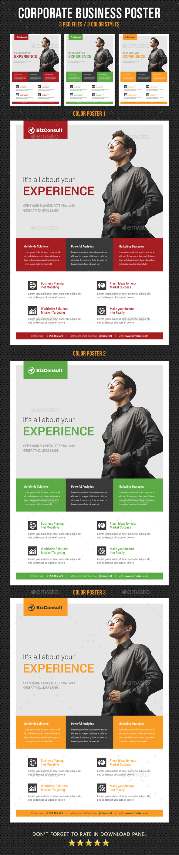 Corporate Business Poster Template V23 - Signage Print Templates