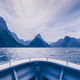 Milford sound peaks viewed from the boat in cold tone, New Zealand - PhotoDune Item for Sale