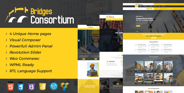 The Bridges Construction WordPress Theme - Building Store - Business Corporate