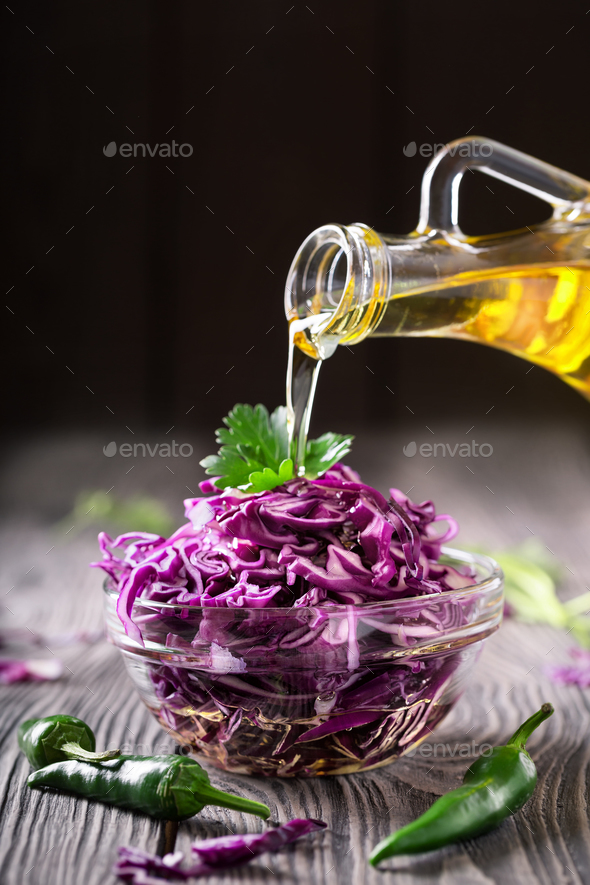 Salad with red cabbage and oil - Stock Photo - Images