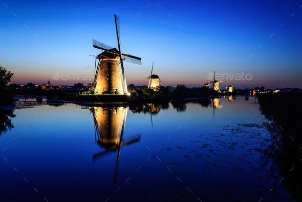 Windmills in Kinderdijk, Holland at Blue Hour