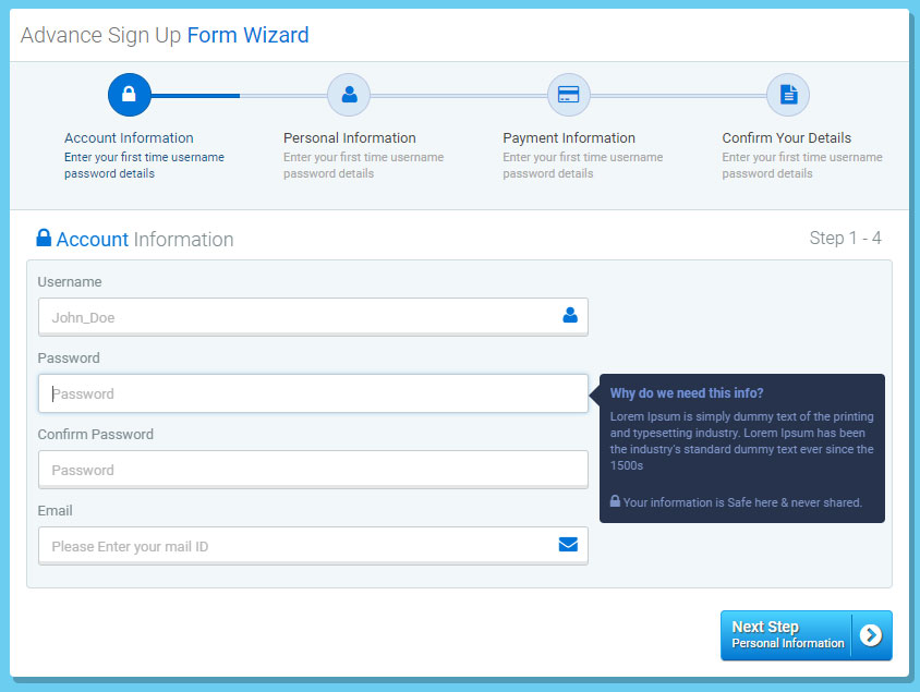Multi Step Form Wizard Jquery Validation By Logicalstack Codecanyon