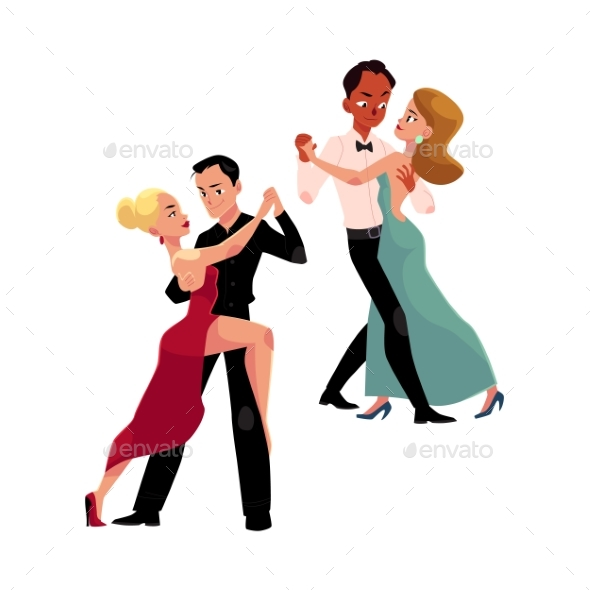 Couples of Professional Ballroom Dancers Dancing - People Characters