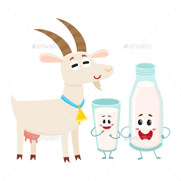 Farm Goat and Milk Bottle Characters with Smiling - Food Objects