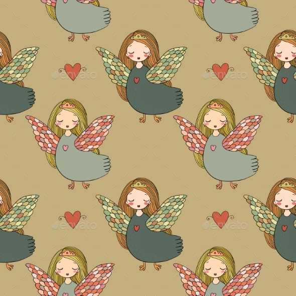 Pattern with Girl Sirin. - Miscellaneous Vectors