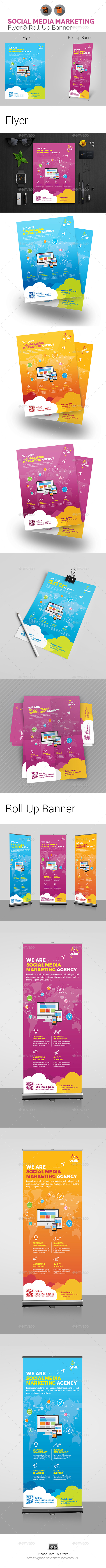 Social Media Marketing Flyer & Roll-Up Banner - Print Templates