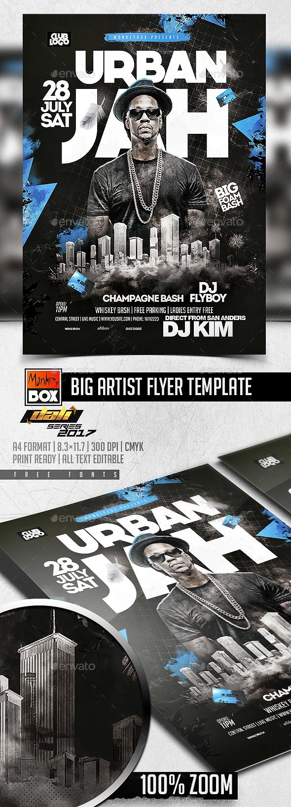 Big Artist Flyer Template - Flyers Print Templates
