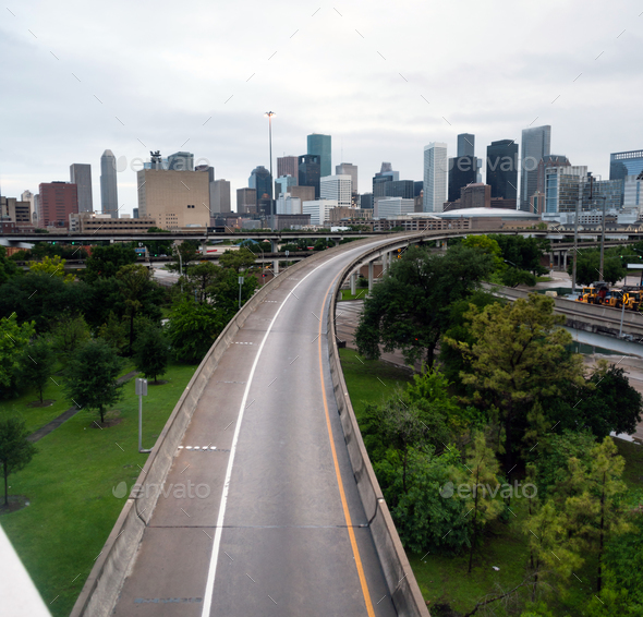 Houston Highway Downtown City Skyline Overcast Day Texas - Stock Photo - Images