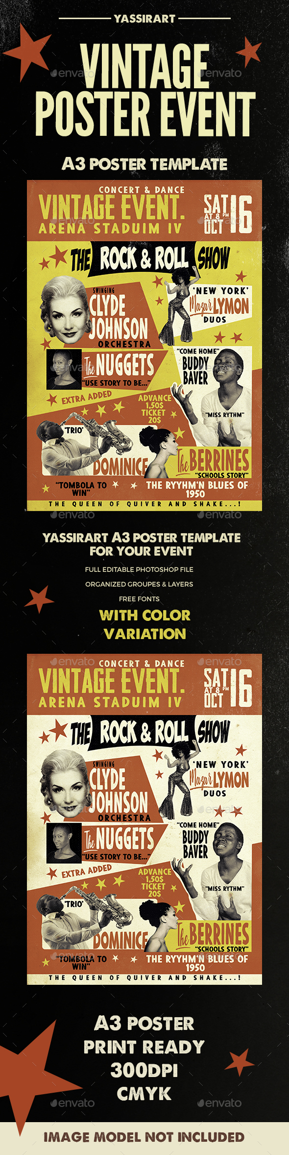 Vintage 50's Poster A3 - Clubs & Parties Events