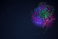 Blue purple green celebration firework copy space. - PhotoDune Item for Sale