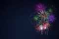 Purple lilac red green celebration fireworks copy space. - PhotoDune Item for Sale