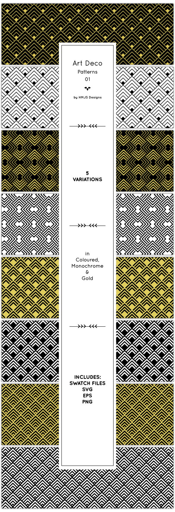Art Deco Patterns, Vol 1 - Textures / Fills / Patterns Illustrator