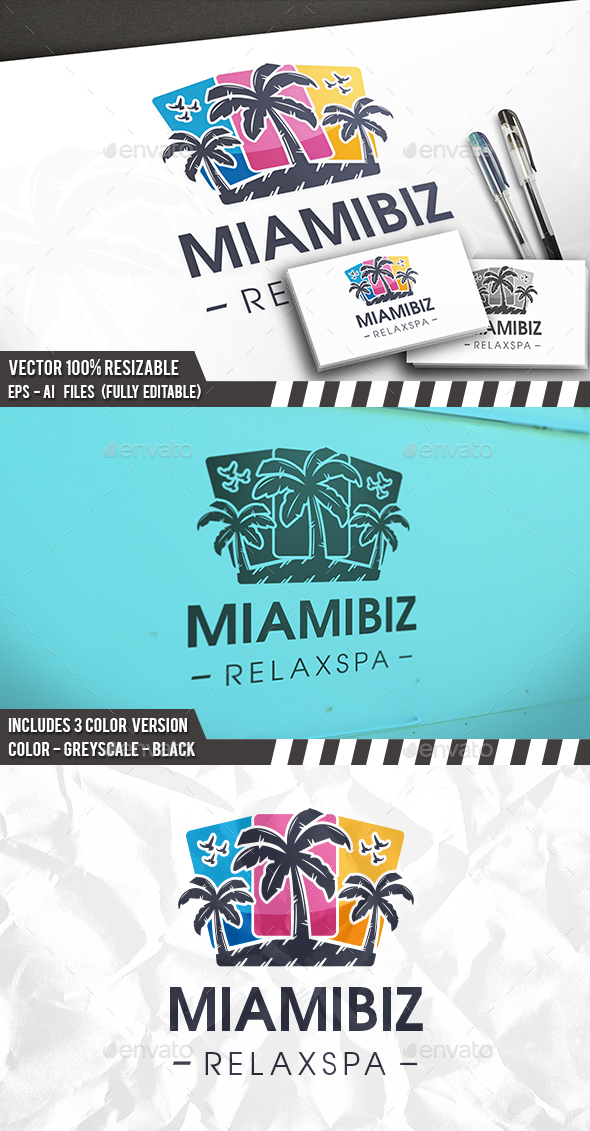 Colorful Palms Beach Logo - Food Logo Templates