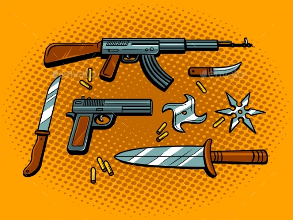 Weapon Pop Art Style Vector Illustration - Objects Vectors