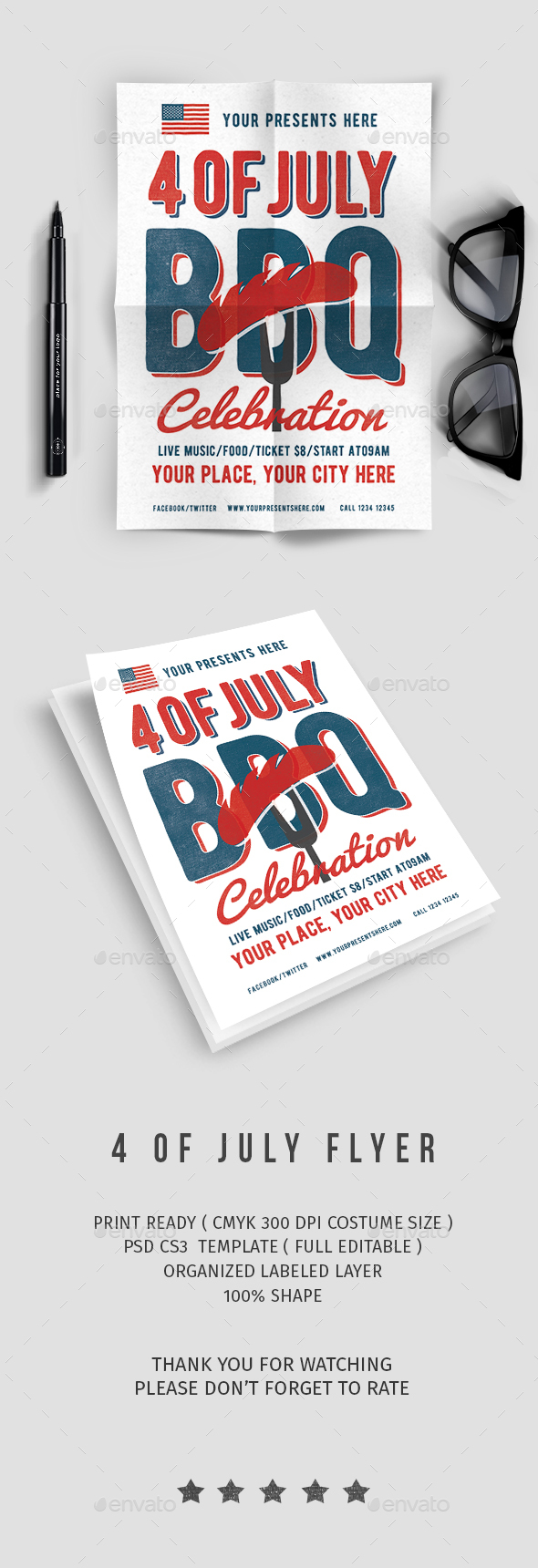 4 Of July BBQ Party - Events Flyers