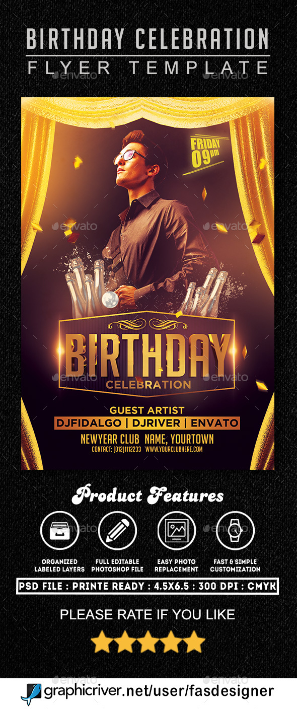 Birthday Celebration Flyer 1 - Clubs & Parties Events