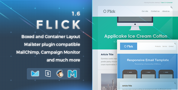 Flick | Responsive E-mail Template - Newsletters Email Templates