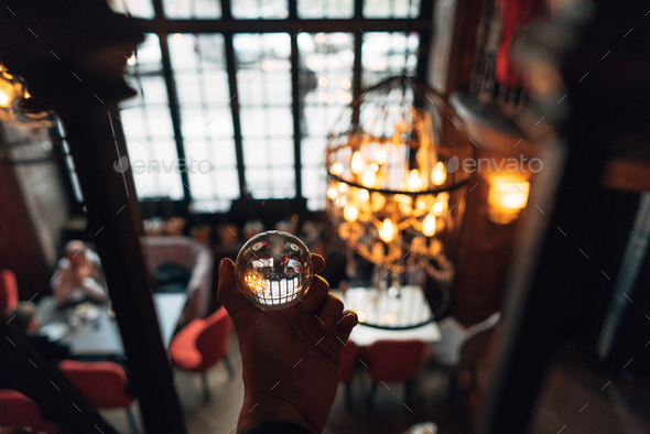 luxurious interior through a glass ball - Stock Photo - Images