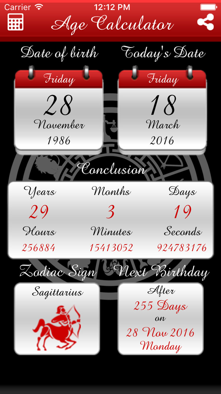 Age Calculator & Horoscope iOS Universal App (Objective-C / X-Code)