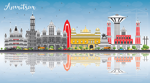 Amritsar Skyline with Gray Buildings, Blue Sky and Reflections. - Buildings Objects