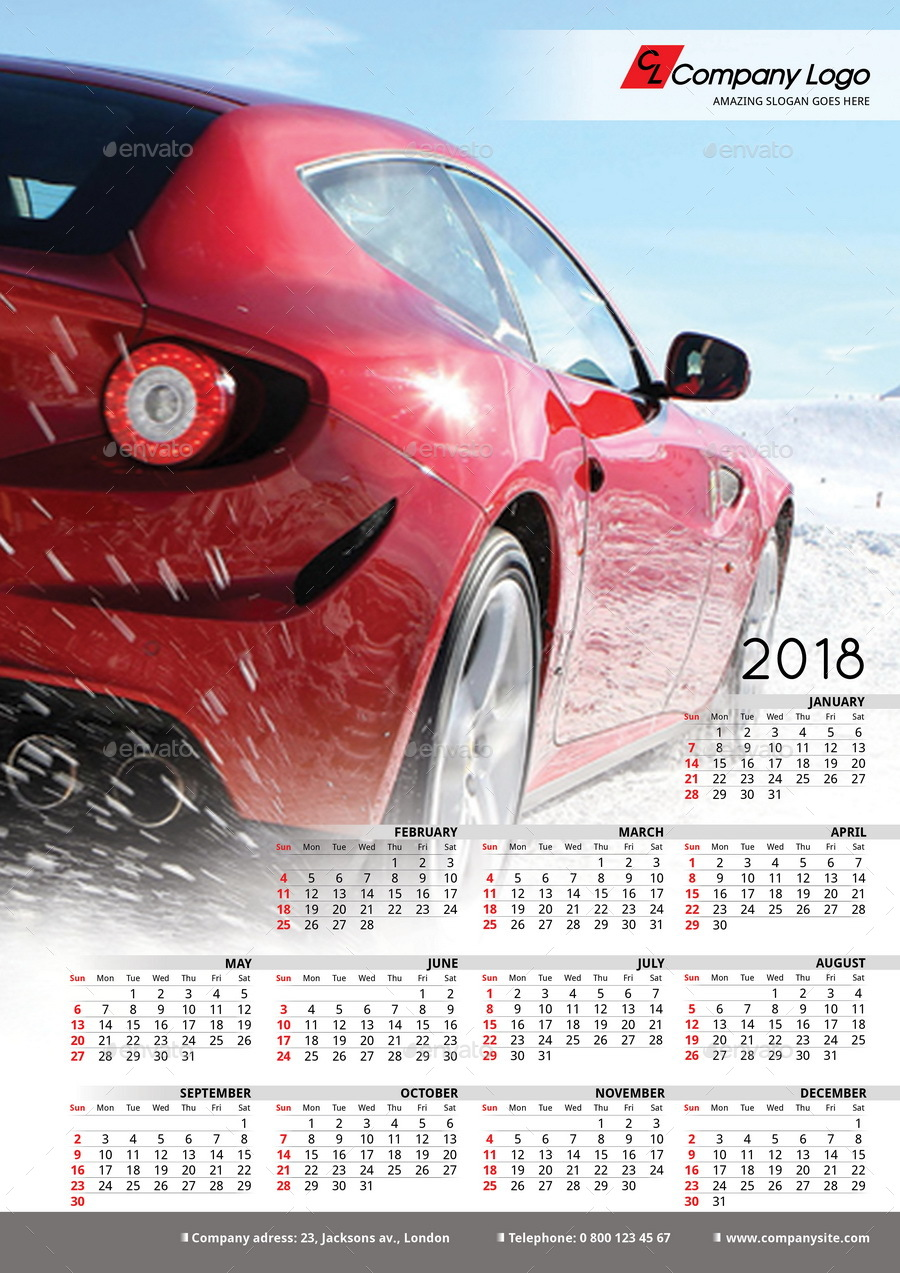 2018 Poster-Calendar template by La_Croix | GraphicRiver