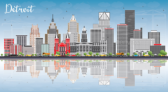 Detroit Skyline with Gray Buildings, Blue Sky and Reflections. - Buildings Objects