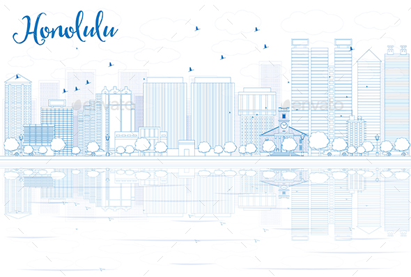 Outline Honolulu Skyline with Blue Buildings and Reflections. - Buildings Objects