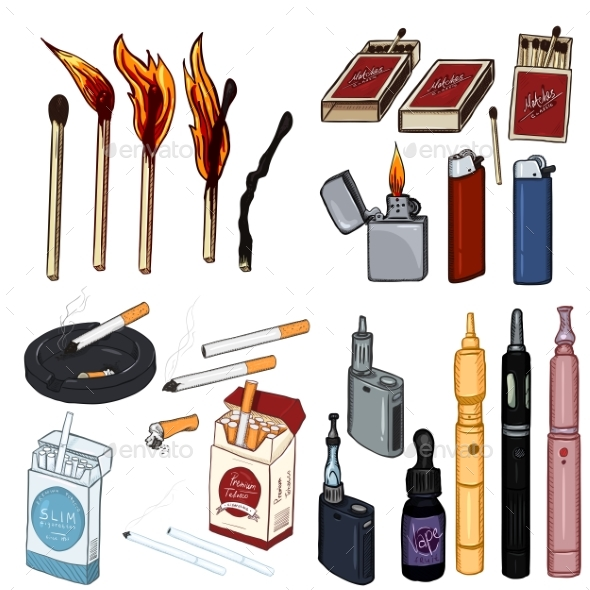 Vector Cartoon Set of Smoking and Vaping Items - Man-made Objects Objects