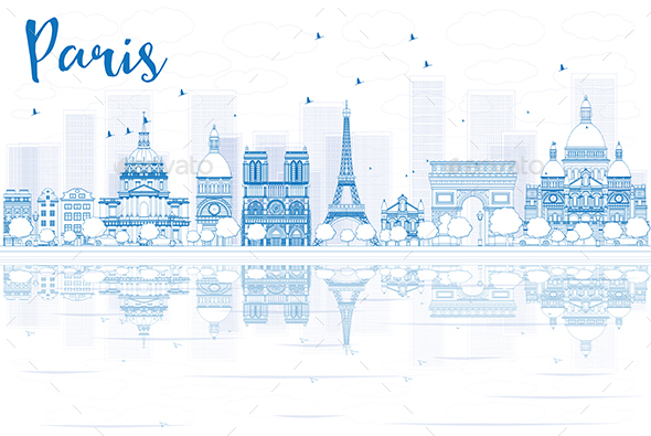 Outline Paris Skyline with Blue Buildings and Reflections - Buildings Objects
