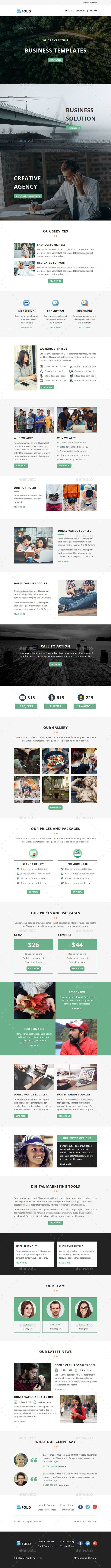Fold - Email Newsletter PSD Template - E-newsletters Web Elements