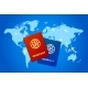 Couple of Passports on World Map with Airline Routes - GraphicRiver Item for Sale