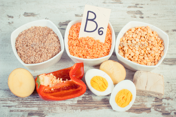 Vintage photo, Ingredients containing vitamin B6 and dietary fiber, healthy nutrition concept - Stock Photo - Images