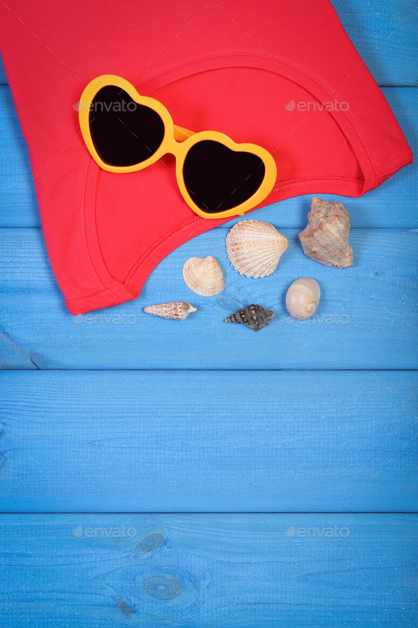 Clothing for woman and accessories for vacation and summer, copy space for text - Stock Photo - Images