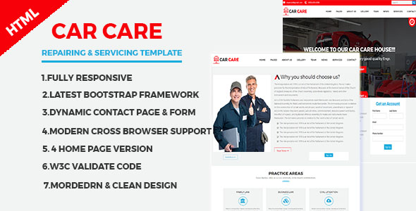 CarCare -  Auto Mechanic & Car Repair Template - Retail Site Templates
