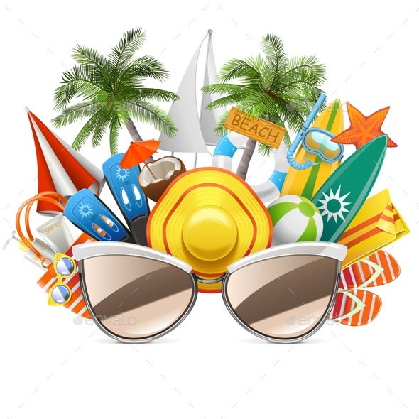 Vector Beach Concept with Sunglasses - Travel Conceptual