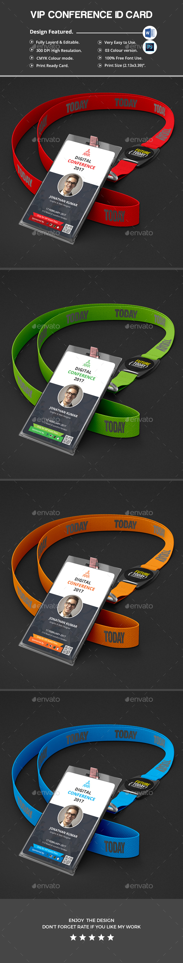 Conference VIP Pass ID Card - Miscellaneous Print Templates