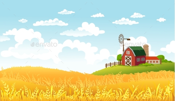Vector Illustration of Farm Landscape - Landscapes Nature