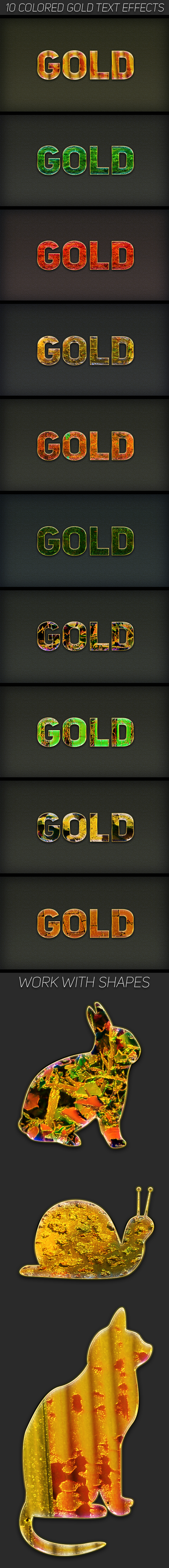 Colored Gold Text Effects - Text Effects Styles
