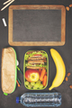 Sandwich, apple, grape, carrot, berry in plastic lunch boxes, st - PhotoDune Item for Sale