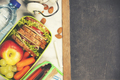 Sandwich, apple, grape, carrot, stationery and bottle of water o - PhotoDune Item for Sale