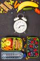 Sandwich, apple, grape, carrot, berry in plastic lunch boxes, al - PhotoDune Item for Sale