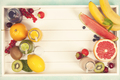 Fresh juices or smoothies with fruits and vegetables in wooden t - PhotoDune Item for Sale