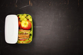 Green school lunch box with sandwich, apple, grape and carrot - PhotoDune Item for Sale