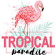 Pink Flamingo and Green Palm Leaves - GraphicRiver Item for Sale