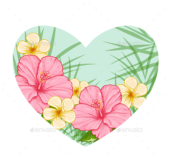 Green Heart of Tropical Flowers - Flowers & Plants Nature