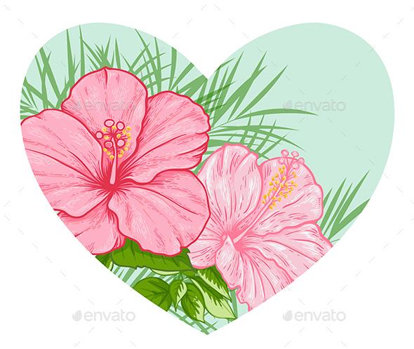 Tropical Floral Heart - Flowers & Plants Nature