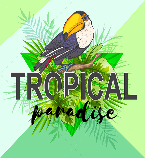 Palm Leaves and Toucan Bird - Animals Characters