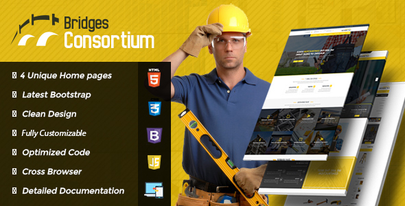 The Bridges Construction Building HTML Template - Corporate Site Templates