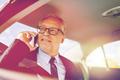 senior businessman calling on smartphone in car - PhotoDune Item for Sale